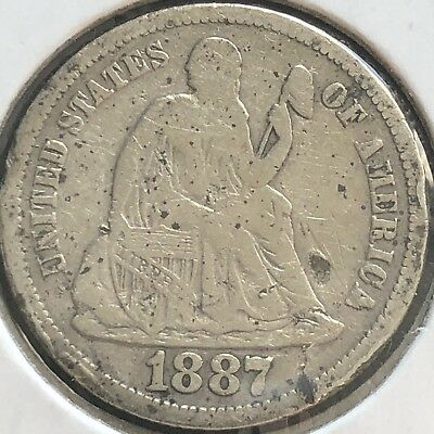1887 S Seated Liberty Dime 10c Better Grade RARE San Francisco #12430
