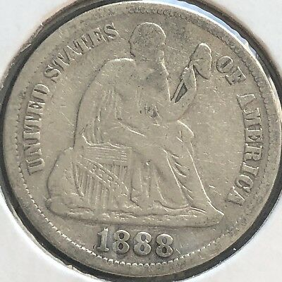 1888 S Seated Liberty Dime 10c Better Grade RARE San Francisco #12434