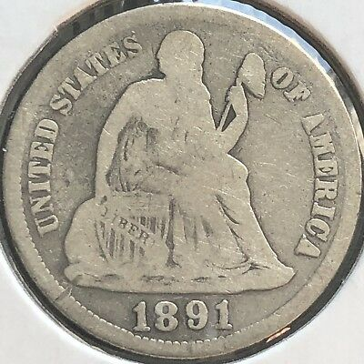 1891 S Seated Liberty Dime 10c Better Grade RARE San Francisco #12440