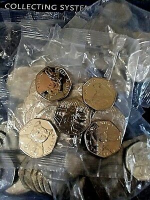 50p 2017-18-19 Coins Sealed Bag Sherlock Holmes Paddington Kitten Fisher Flopsy