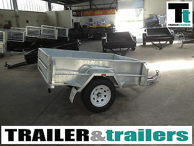 "6x4 GALVANISED BOX TRAILER - HEAVY DUTY -16"" HIGH SIDES -SINGLE AXLE -NEW WHEELS"