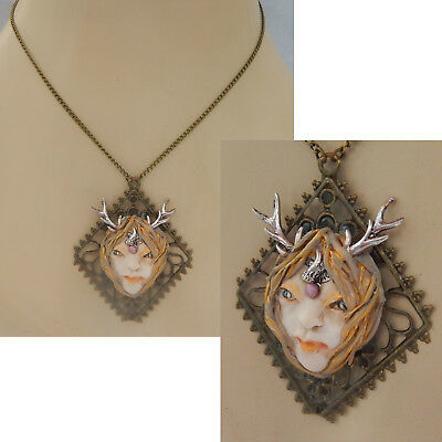 Necklace Stag Fairy Face Pendant Jewelry Handmade Hand Sculpted NEW Woodland