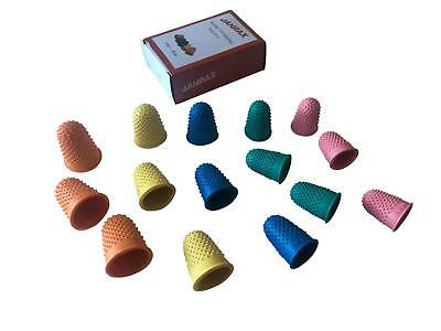 Pack of 15 Assorted Size Rubber Thimblettes - Coloured Thimble Finger Cones