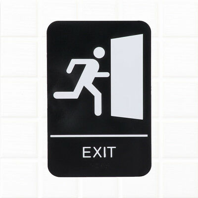 ADA Exit Sign with Braille for Door / Wall - Black and White, 9 x 6-Inches