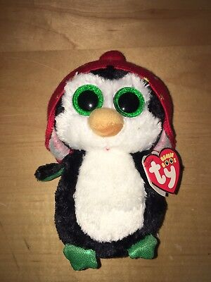 Ty Beanie Boos Freeze Penguin Black White Red Beanie Hat Christmas Plush 9