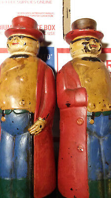 lot of 2 Vintage Mr Pickwick Hand Painted Glass Bottle 1930s Antique retro Rare