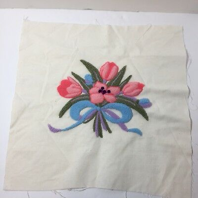 "Floral Bouquet Tulips Finished Needle Punch Embroidery Pretty 16"" Square"