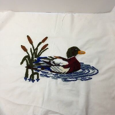 "Mallard Duck Cattails Finished Needle Punch Embroidery Pretty 18.5"" x 22"""