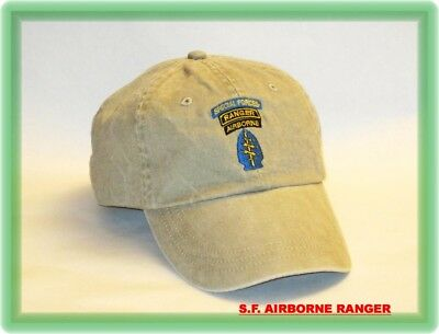 ARMY AIRBORNE RANGER Special Forces GREEN BERET SF OPS 3 TAB CAP HAT