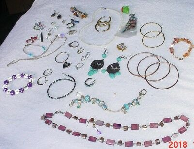 Lot of Vintage Costume Jewelry Earrings Bracelts Bangle Necklaces Etc SomeSilver