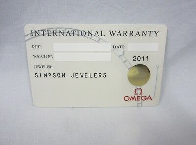 OMEGA Watch White International Warranty Card w/ Dealer Name & Source Code ONLY!