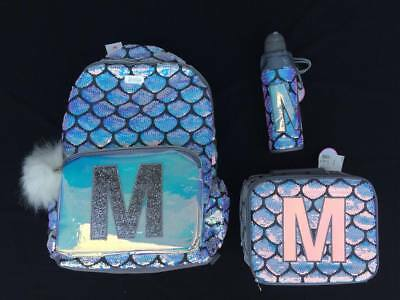 NWT Justice Girls Silver Mermaid Initial M Backpack Lunchbox Water Bottle Set