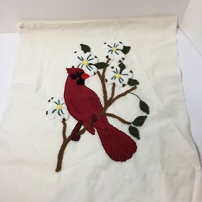 "Cardinal on a Branch Finished Needle Punch Embroidery Pretty Bird 18"" x 20.5"""