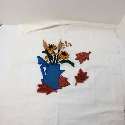 Autumn Floral Bouquet in Coffee Pot Finished Needle Punch Embroidery Pretty 20""