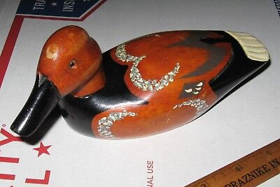 vtg Small 7 inch DUCK Carved Wood Decoy Figure Hand Painted unusual