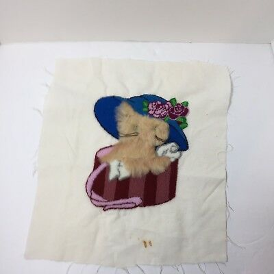 "Kitten in Hat Box Finished Needle Punch Embroidery Pretty 14"" x 15.5"""