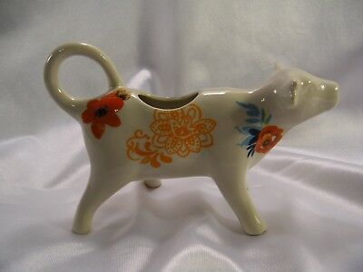 Poineer Woman Cow Creamer, Stoneware, Floral Design.