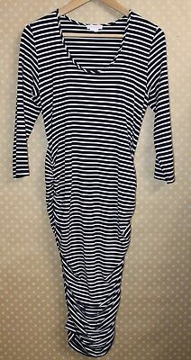 INGRID & ISABEL Striped Shirred Maternity Dress 3/4 Sleeve Scoop Navy White L