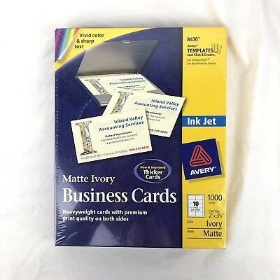 """Avery 8476 Matte Ivory Business 1000 Cards Blank 2""""x3.5"""" Ink Jet Printer NEW"""