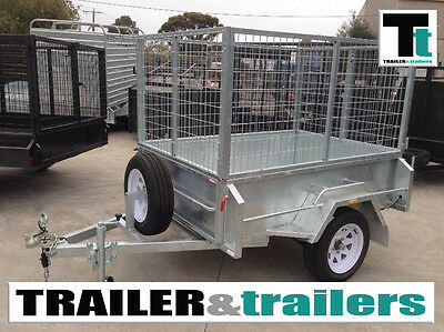 6x4 GALVANIZED TRAILER - 3FT CAGE - HEAVY DUTY 18'' HIGH SIDES –SPARE AND JOCKEY