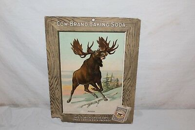 "Rare Vintage  c.1915 Cow Brand Baking Soda Powder Bread Gas Oil 15"" Sign"