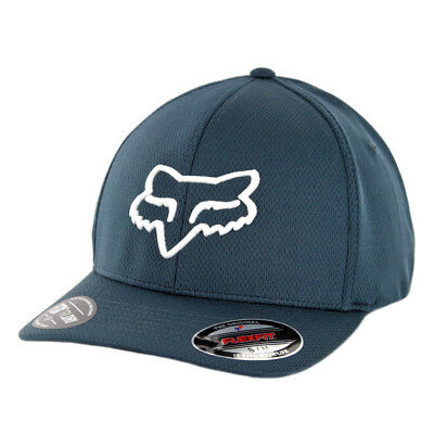 "Fox Head Racing ""Lithotype"" FlexFit Hat (Navy/White) Men's Precurved Stretch Cap"