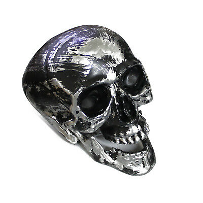 Black & Silver Plastic Human Skull with Movable Jaw for Craft, Prop, Decoration