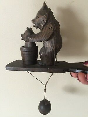 Antique Hand Carved Black Forest Wooden Bears Folk Art Toy Movable Arms