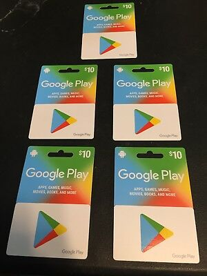 (5) Google Play Gift Cards NEW SEALED!!!Empty 10.00 capacity PER CARD! NO VALUE!
