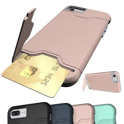Credit Card Holder Wallet Case Shockproof Phone Cover For iPhone X 8 7 Xmas Gift
