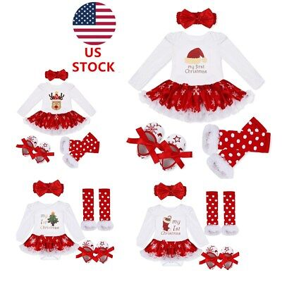 US Girl Infant Baby Christmas Outfit Romper Tutu Skirts Xmas Party Clothes 4PCS