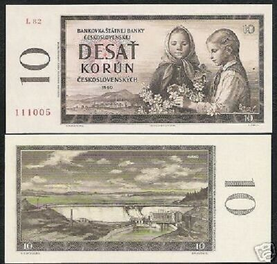 Czechoslovakia 10 Korun P88 1960 Girl Flower Dam Unc Czech Money Bill Bank Note