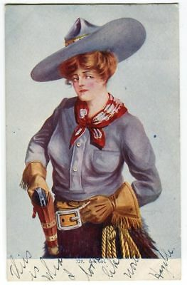 Antique Cow Girl Postcard Big Hat and Gun no 729 1907 102115A