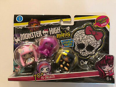 Monster High Minis Season 1 3 pack Pack #4 w/ Collectors Guide & Rare Cleo