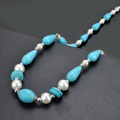 Fashion Women's Natural Turquoise Pearl Bead Pendant Chain Necklace Jewelry
