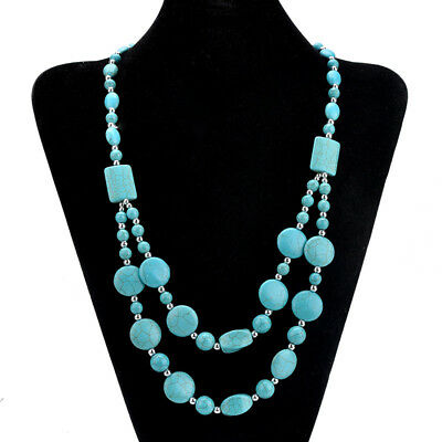 Fashion Women's multilayer Turquoise Beads String Pendant Necklace Jewelry