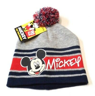 008449fd07b749 New Disney Mickey Mouse Beanie Hat Knit Boys Girls Gray Red Embroidered NWT