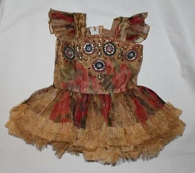 1960's Vintage Strawberry Girl's Wear Toddler Holiday Golden Dress Size 16 (2T)