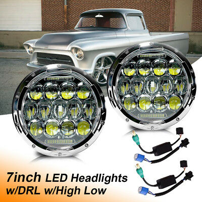 Pair LED Headlights Fit Chevrolet Camaro 7 inch Chrome Hi/Lo DRL Lights H4 H13