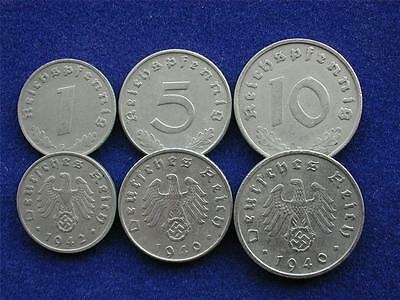 Lot OF 3 DIFF WW2 German  Reich Coins With SWASTIKAS, WW11
