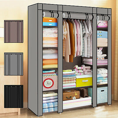 Practical Fabric Canvas Wardrobe Hanging Rail Shelving Clothes Storage Cupboard
