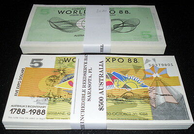 Lot Of 300 Pcs. Partially-Engraved Abnc Australia $5 World Expo 88 Notes - Unc!
