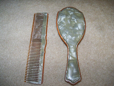 Vintage Green Brown Comb and Brush Set Celluloid/Bakelite
