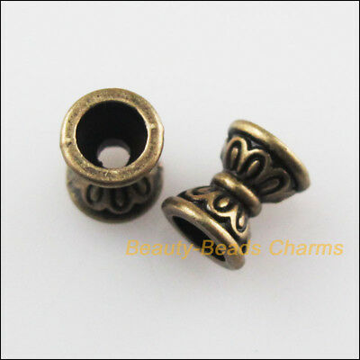 50 New Flower Cone Charms Antiqued Bronze Tone Spacer Beads 6.5mm