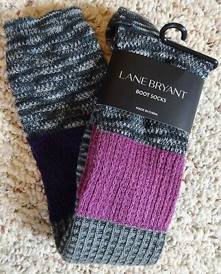NEW WITH TAGS LANE BRYANT WOMENS PLUS ACRYLIC STRETCH BOOT SOCKS fits sz 8 - 12