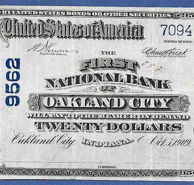 In  1902 $20   ♚♚ Oakland City,indiana ♚♚   Rare Note!!