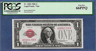 1928 $1 Fr-1500 Red-Seal W/low Sn ♚♚A00001708A♚♚  Pcgs Gem New 66 Ppq