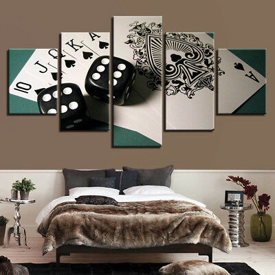 Playing Cards And Poker Dice Game Framed 5 Pcs Canvas Print Wall Art Home Decor