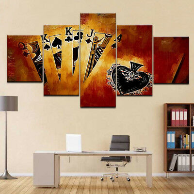 Playing Cards Brown Painting Canvas Print Wall Art Home Decor HD Poster 5 Pieces