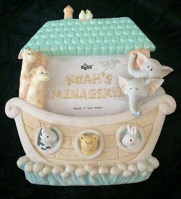 """Noah's Menagerie Picture Frame from Russ Baby (Russ Berrie) 3x 3 1/2"""" picture"""